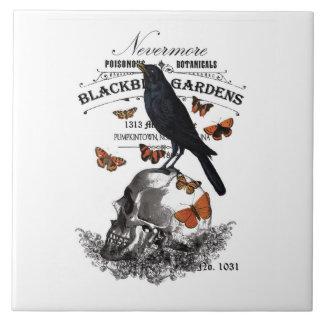 modern vintage halloween crow and skull tile