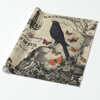 modern vintage halloween crow and skull wrapping paper