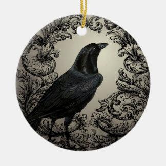 modern vintage halloween crow ceramic ornament