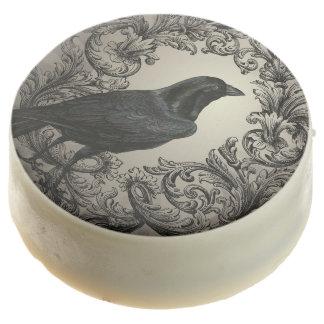 modern vintage halloween crow chocolate covered oreo