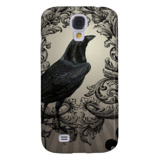 modern vintage halloween crow galaxy s4 case