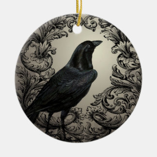 modern vintage halloween crow Double-Sided ceramic round christmas ornament
