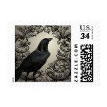 modern vintage halloween crow postage