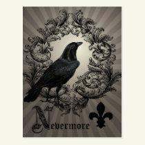 modern vintage halloween crow postcard