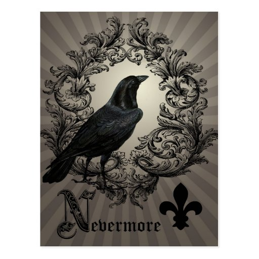 Crow And Cauldron Vintage Halloween: Modern Vintage Halloween Crow Postcard
