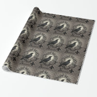 modern vintage halloween crow wrapping paper