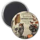 Modern vintage Halloween owl and skull 2 Inch Round Magnet