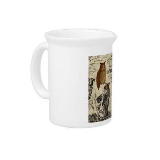 Modern vintage Halloween owl and skull Beverage Pitcher