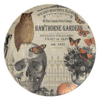 Modern vintage Halloween owl and skull Dinner Plate