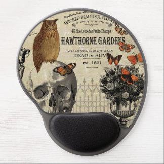 Modern vintage Halloween owl and skull Gel Mouse Pad