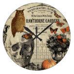 Modern vintage Halloween owl and skull Large Clock