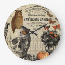 Modern vintage Halloween owl and skull Large Clock