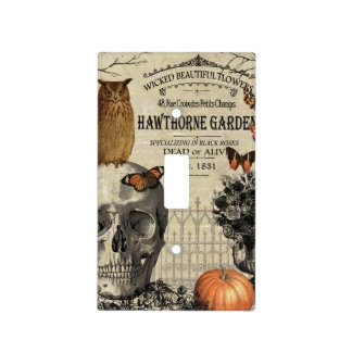 Modern vintage Halloween owl and skull Light Switch Cover