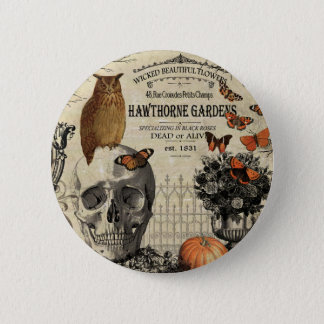 Modern vintage Halloween owl and skull Pinback Button