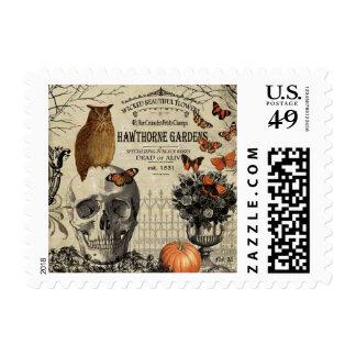 Modern vintage Halloween owl and skull Stamp