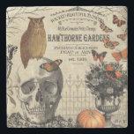"Modern vintage Halloween owl and skull Stone Coaster<br><div class=""desc"">Modern vintage Halloween owl and skull</div>"
