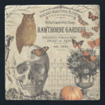 "Modern vintage Halloween owl and skull Stone Coaster<br><div class=""desc"">Modern vintage Halloween owl and skull</div>"
