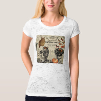 Modern vintage Halloween owl and skull T-Shirt