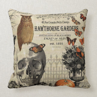 Modern vintage Halloween owl and skull Throw Pillow