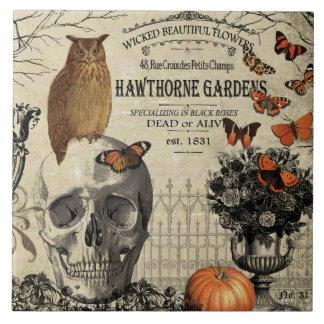 Modern vintage Halloween owl and skull Tile