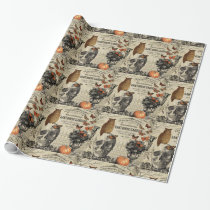 Modern vintage Halloween owl and skull Wrapping Paper
