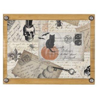 modern vintage halloween postcards round cheeseboard
