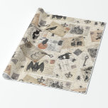 Modern vintage Halloween postcards Wrapping Paper