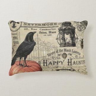 Modern Vintage Halloween pumpkin and crow Accent Pillow