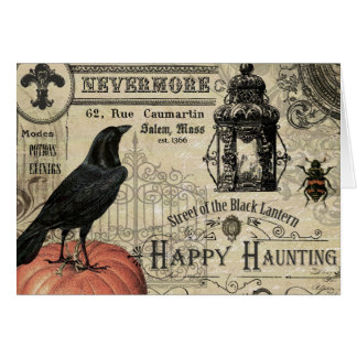 modern vintage halloween pumpkin and crow card