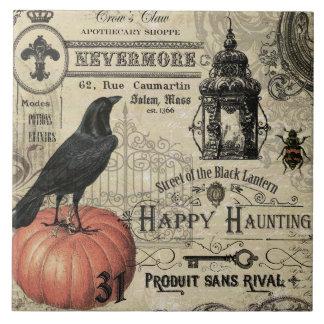 Modern Vintage Halloween pumpkin and crow Ceramic Tile