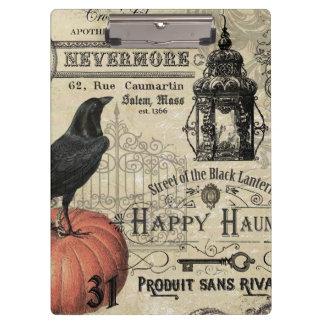 modern vintage halloween pumpkin and crow clipboard