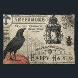 "modern vintage halloween pumpkin and crow cloth placemat<br><div class=""desc"">modern vintage halloween pumpkin and crow</div>"