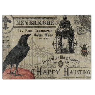 modern vintage halloween pumpkin and crow cutting board