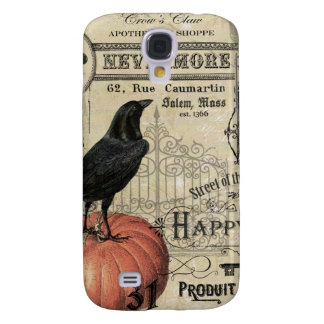 modern vintage halloween pumpkin and crow galaxy s4 cover