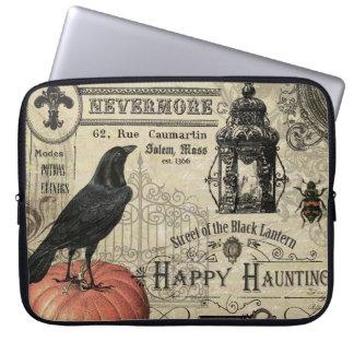 modern vintage halloween pumpkin and crow laptop sleeve