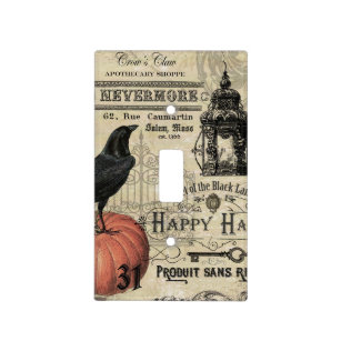 modern vintage halloween pumpkin and crow light switch cover