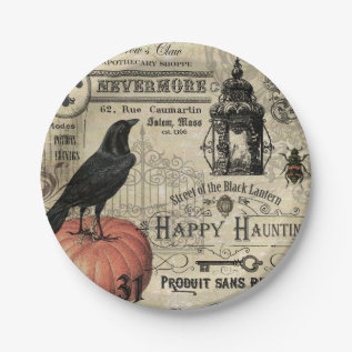 Modern Vintage Halloween Pumpkin And Crow Paper Plate at Zazzle
