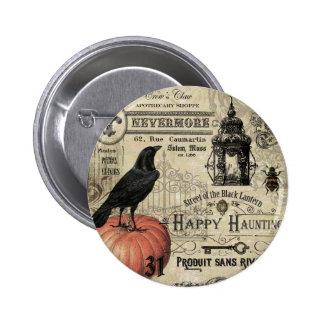 modern vintage halloween pumpkin and crow pinback button