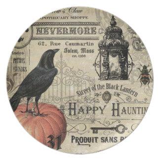 modern vintage halloween pumpkin and crow dinner plate