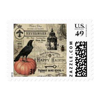 Modern Vintage Halloween pumpkin and crow Postage