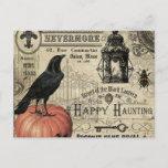"modern vintage halloween pumpkin and crow postcard<br><div class=""desc"">modern vintage halloween pumpkin and crow</div>"