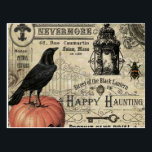 "modern vintage halloween pumpkin and crow postcard<br><div class=""desc"">modern vintage halloween pumpkin and crow</div>"