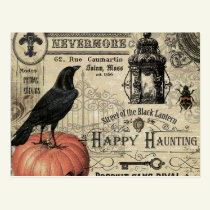 modern vintage halloween pumpkin and crow postcard