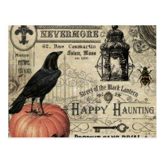 Modern Vintage Halloween Pumpkin And Crow Postcard at Zazzle