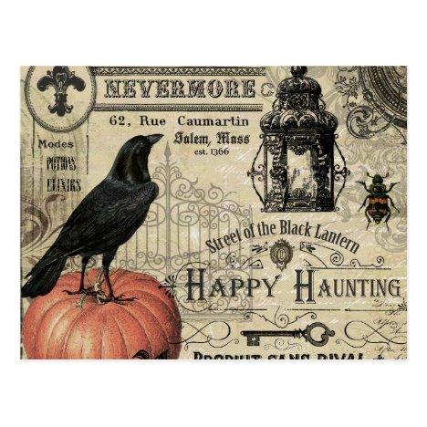 modern vintage halloween pumpkin and crow postcard