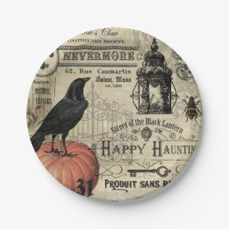 Modern Vintage Halloween pumpkin and crow 7 Inch Paper Plate