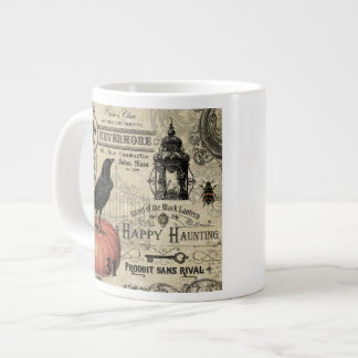 modern vintage halloween pumpkin and crow 20 oz large ceramic coffee mug
