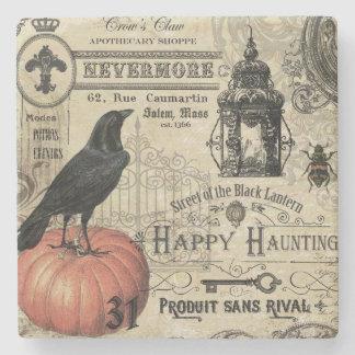 Modern Vintage Halloween pumpkin and crow Stone Coaster