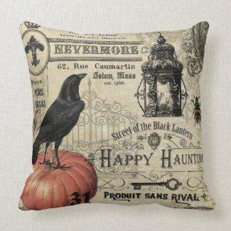 modern vintage halloween pumpkin and crow throw pillow