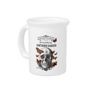 modern vintage Halloween skull and butterflies Beverage Pitcher